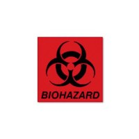 "Biohazard Decal 5.75"" x 6"" Red"