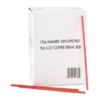 "Coffee Stirrers 5.25"" Red/Wh"