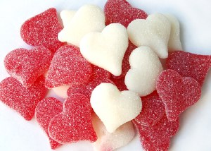 8 oz. Sour Sanded Jelly Hearts