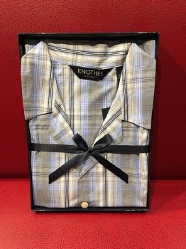 Lux Cotton Long Sleeve Long Leg Light Weight  Check Boxed Pajama Set
