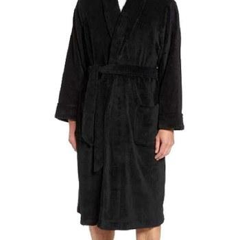 Majestic Ultra Soft Fleece Robe - Black , Blue Pin Stripe