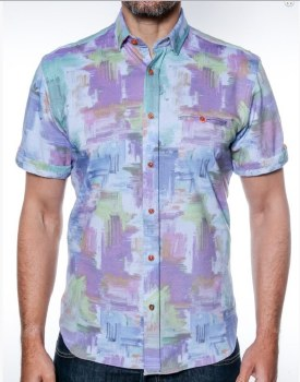 2205 Ink Abstract Short Sleeve Sport Shirt