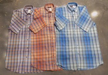 Jon Randall Dobby Check Plaid Short Sleeve Shirt