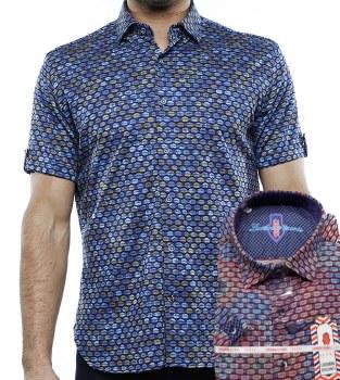Luchiano Visconti Jacquard Knit Short Sleeve Shirt