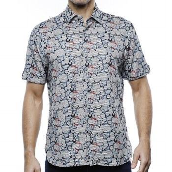 Luchiano Visconti Circles Knit Short Sleeve Shirt