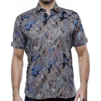Luchiano Visconti Paisley Knit Short Sleeve Shirt