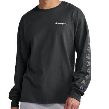 Champion Long Sleeve Signature Tee - 2 Colours  Black, Grey