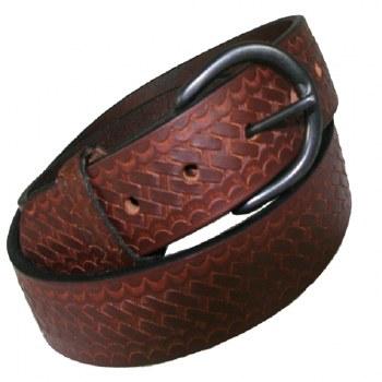 Boston Leather Weave Print Black Buckle