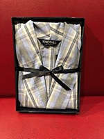 Lux Cotton Long Sleeve Lightweight Check Robe