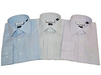 London's Big & Tall 2-ply Cotton Vertical Stripe Long Sleeve Dress Shirt
