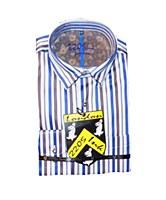 2205 Ink Brown Stripe Long Sleeve Sport Shirt