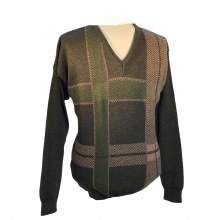 2205 V-Neck Pull Over Sweater.Green/Tan, Red/Black