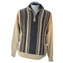 Fx Fusion 1/4 Zip Vertical Mock Neck Sweater,Navy,Oatmeal