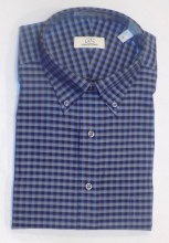 Cooper & Stewart Blue Mini Check Long Sleeve Sport Shirt