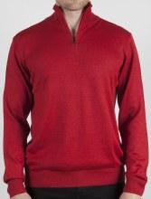 Luchiano Visconti Italian Yarn 1/4 Zip Sweater. Crimson Coffee Late Onix Silver Midnight Olive