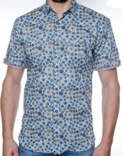 2205 Ink Geometric Teal Short Sleeve Sport Shirt