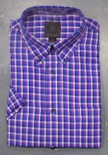 FX Fusion Indigo Check Short Sleeve Sport Shirt