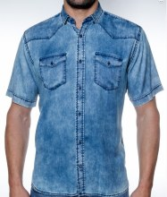 2205 Ink Distressed Denim Short Sleeve Sport Shirt