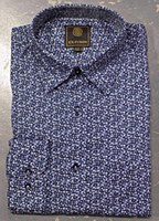 FX Fusion Blue Floral Mini Long Sleeve Sport Shirt