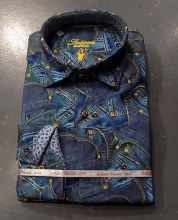 Luchiano Visconti Stretch Rivet Print Long Sleeve Sport Shirt