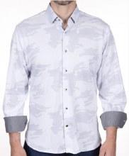 Luchiano Visconti Pin Dot Stretch Long Sleeve Sport Shirt