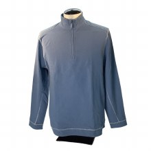FX Fusion Qzip French Terry Pullover. Stone Blue and Black