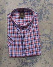 FX Fusion Red Plaid Short Sleeve Sport Shirt