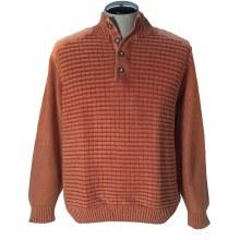 Fx Fusion Button Sandwashed Sweater. Brick, Stone,  Sage