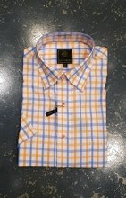 FX Fusion Orange/Blue Check Short Sleeve Shirt