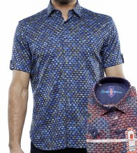 Luchiano Visconti Jacquard Knit Short Sleeve Shirt