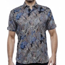 Luchiano Visconti Paisley Knit Short Sleeve Shirt