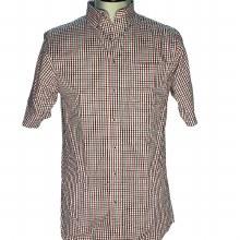 Red Blue Textured Short Sleeve Shirt