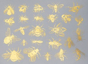 Gold Luster Decal, Bees