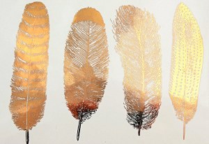 Gold Luster Decal, Feathers