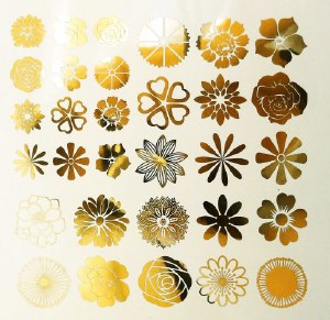 Gold Luster Decal, Flowers