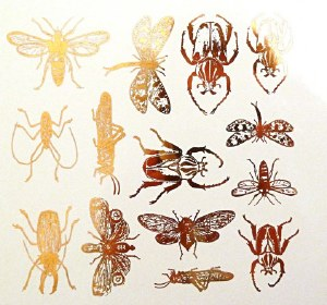 Gold Luster Decal, Insects