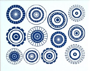 Large Circles Decals Black