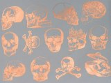 Copper Luster Decals, Skulls
