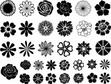 Flowers Decals Black