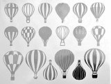 Hot Air Balloons Decals Black