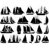 Sailboats Decals Black