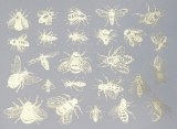 Silver Luster Decal, Bees