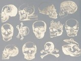 Silver Luster Decal, Skulls