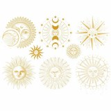Gold Luster Decal Sun and Moon