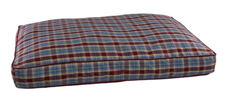 SNOOZA SHAPES OBLONG RED/BLUE TARTAN DOG BED