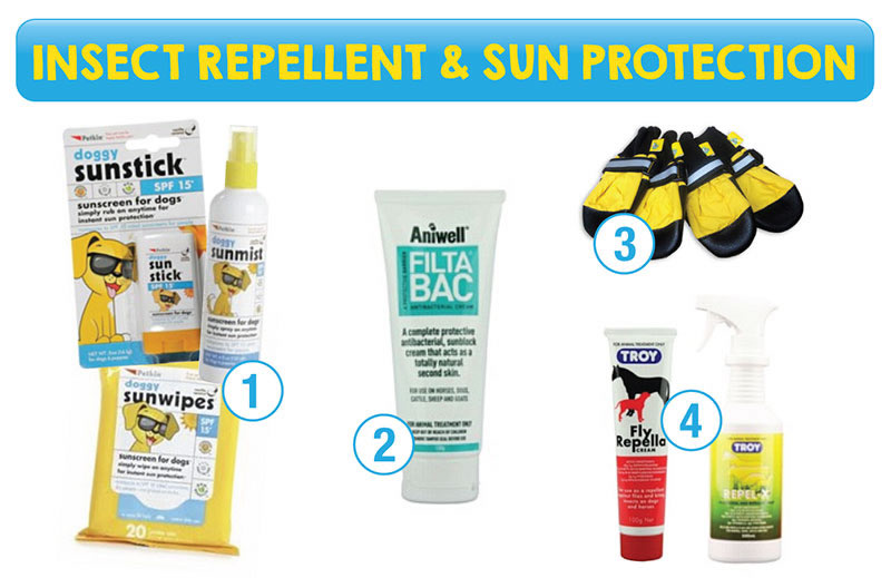 Insect repellent and sun protection for pets<