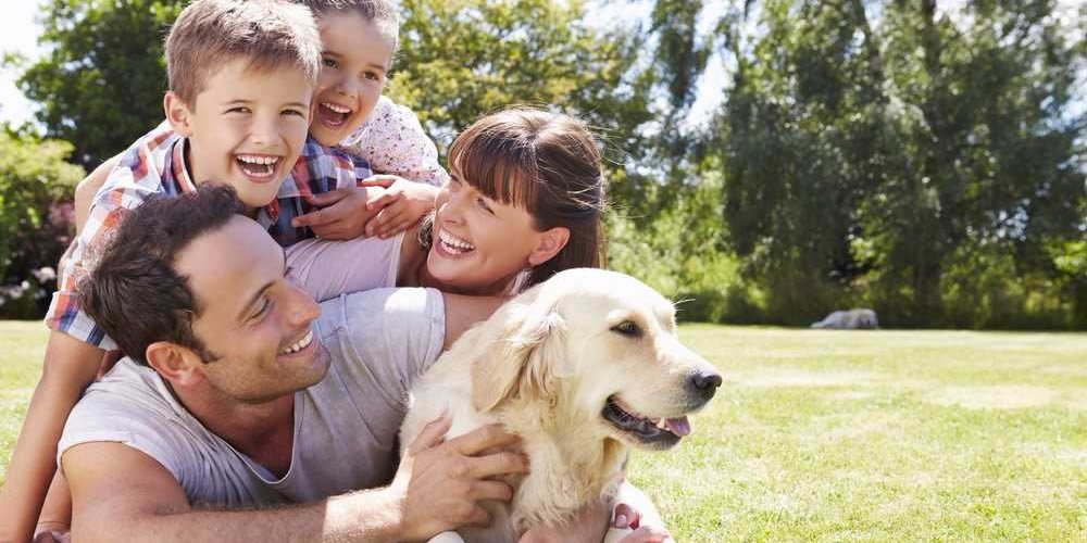 Familiy enjoying time with their pet dog