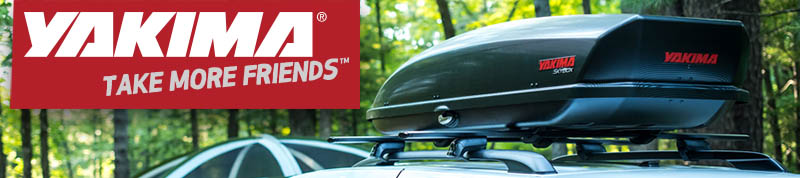 Yakima SkyBox roof top cargo box on Timberline cross bar rack - available at Racks For Cars