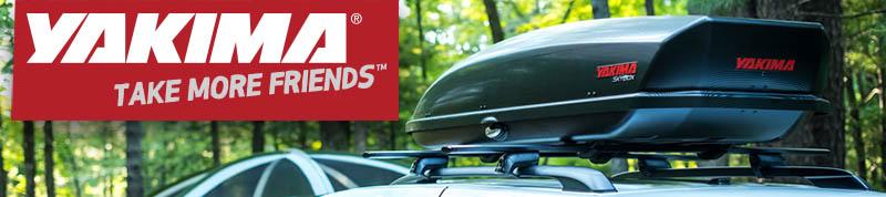 Yakima SkyBox roof top cargo box on Timberline cross bar rack - available at Racks For Cars
