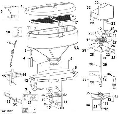 Blizzard LP10 Tailgate Salt Spreader Parts Diagram / Schematic Angelo's Supplies